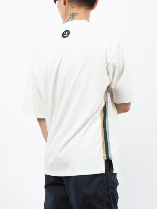 CABLE KNIT TRIM T-SHIRT WHITE